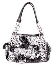 Fashion Leopard Rhinestone Flower Pocket Purse Handbag