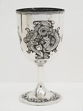 Antique Chinese Export Sterling Silver Goblet Cup Dragon Temple Scholar