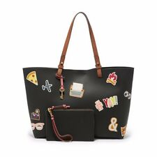 Fossil Rachel Black Multi Leather Magnetic Snap Removable Pouch Tote & Shopper