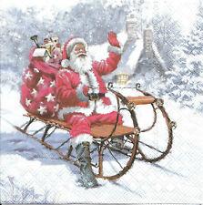 Lot de 4 Serviettes en papier Père Noël en Traineau Decoupage Collage Decopatch