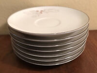 Franciscan Porcelain Snow Pine Saucer(s) Set of 7 Gladding McBean JAPAN EUC