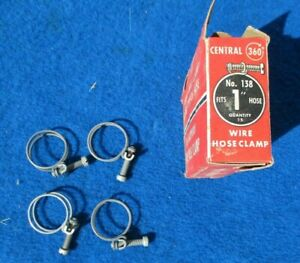 "Vintage Wire Band Screw 1"" Hose Clamps 4 NOS Original Central 360 Made in USA"
