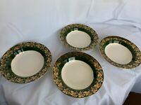 "Nautilus Homer Laughlin Green W/ Gold Grapes & Vines 4 Rimmed Soup Bowls 8 3/8"""