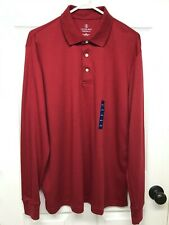 Lands' End #432097 L/S Super Soft Supima Cotton Golf/Polo Shirt: Mens L Red, NWT