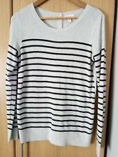 The White Company Button Back Jumper grey and black striped wool mix size 12