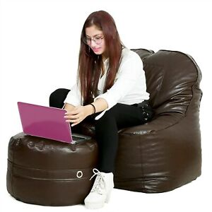 Bean bag Leather Chair without Bean With footrest Brown for luxuries Decor gift