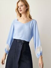 BNWT MASSIMO DUTTI Blue Gingham blouse with lace trim detail UK 6
