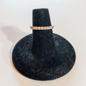 14K Yellow Gold & CZ Stone Wedding Band Ring Sz 5 TW 1.5g