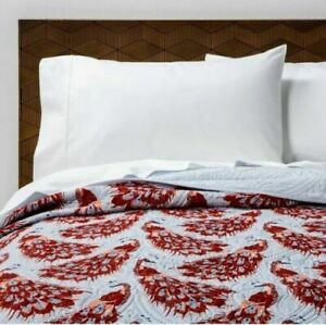 Opalhouse Peacock Medallion Stitch FULL QUEEN  Quilt Dusty Blue Boho Target NEW