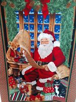 Christmas Panel Timeless Treasures Vintage Fabric Panel 23 x 42  Santa Claus Toy