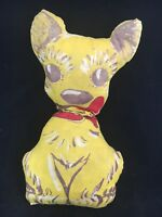 Vintage Yellow Cloth Fabric Puppy Dog doll Plush Toy Named Tag Advertising ?