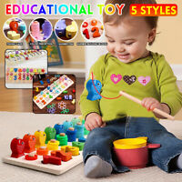 Kids Baby Learning Early Educational Number Shape Recognition Fishing Wooden Toy