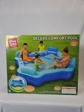 Play Day 8FT Deluxe Comfort Family Inflatable Swimming Pool Lounge Swim Seats