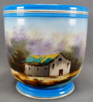 Old Paris Porcelain Hand Painted Scenic House Cachepot With Celeste Blue 1860-70
