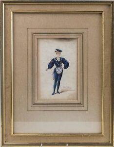 19C British Artist Basil Crage Painting1895 Russian Neva Sailor Theater Costume