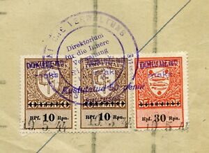 RARE TWO TIMES OVERPRINTED OSTLAND REVENUE ESTONIA DOCUMENT 1944