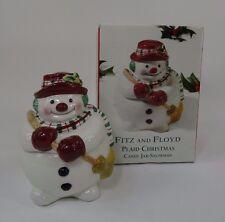 Fitz and Floyd Christmas Plaid Snowman Candy Jar