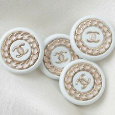 Chanel Buttons 4pc CC White 19 mm Vintage Style Unstamped 4 Buttons AUTH!!!