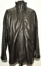 "SUPERB ARMANI JEANS DARK BROWN LEATHER SHORT COAT SIZE XL 44"" L UK"