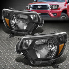 For 12-15 Toyota Tacoma Black Housing Amber Corner Headlight Replacement Lamps