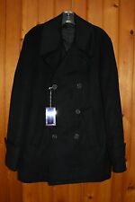NWT  Acquaviva  Men's Marine Ariel  Black Wool Blend Peacoat  size 40R