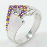 So klug! Natürlicher Amethyst 925 Sterling Silber Vintage Ring / RVS54