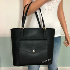 NEW! MICHAEL KORS Jet Set Item Saffiano Leather Tote Shoulder Bag Purse Black