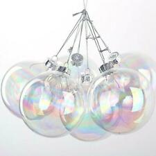10 x Clear Iridescent Glass Ball Fillable Baubles Christmas Wedding Tree Hanging