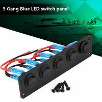 Switch Panel 12V ON-OFF Toggle 5 GANG Blue LED Rocker For Car Boat Marine Yacht