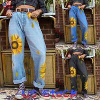 Women Pants Mom Jeans Sunflower Printed Loose Trousers Ladies Casual Slacks US