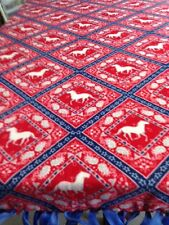 "FLEECE KNOTTED BLANKET - Horses on Red - Fleece - Approx. 72"" x 60"""