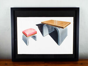 Original Modern Art Drawing Architectural Sketch 2 Stools Red Gray Mid Century
