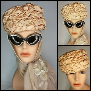 Vintage Van Norden Peach Satin Pillbox Hat 50s Pleated Fortune Teller Masquerade