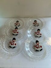 New listing Crate and Barrel Arcoroc France Holiday Christmas Plate Ice Skating Snowman 8 in
