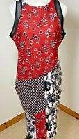 Next Petite Size 16 Pencil Wiggle Dress Black White Red Daisy Floral Mesh Back