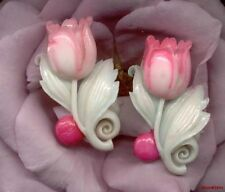VINTAGE CELLULOID Plastic FLOWERS TULIP Cabochon Charms 41mm JAPAN hand PAINTED