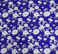 """Indian 100% Cotton Fabric Material Floral Printed 42"""" Width Blue By The Metre"""