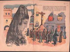 SEMAINE SAINTE HOLY WEEK Semana Santa MADRID ESPANA ESPAGNE ILLUSTRATION 1939
