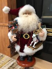 "Grandeur Noel 16"" Fabric Santa Claus W/ Arm Full Of Toys Wood Base 2001"
