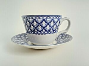 Spode Teacup and Saucer Blue and White Geranium Pattern Blue Room Collection