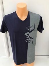 Versace Large Stripe Logo Navy Blue and Grey V Neck T-shirt Sizes L XL XXL