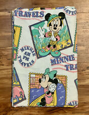 Vintage Walt Disney Minnie Mouse Travels Twin Fitted + Flat Sheet Bedding 60x90