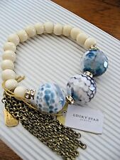 Lucky Star Jewels Bracelet Bubble Gum Agate Indigo Blue + Crystals NWT $120