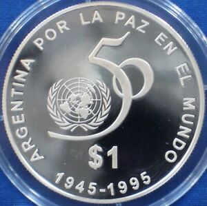 Argentina 1 peso Silver Proof 1995 United Nations 50th Anniversary