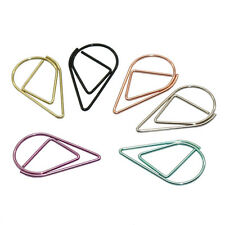 60 Pcs 6 Colors Metal Paper Clips Drop Shape Mini Cute Bookmark Small Decoration