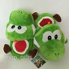 New Super Mario Bros. Yoshi Plush Slippers Soft Shoes Toy 26cm US Men Size 6~8