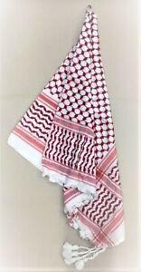 Palästinensertuch, Kufiya, Rot - Weiß, 100% Baumwolle, aus Damaskus/Syrien,Neu++