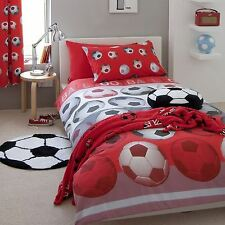 Rouge Catherine Lansfield FOOTBALL Housse Couette Simple & Set Taie d'oreiller