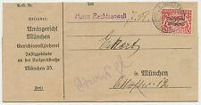 """BAYERN """"MÜNCHEN 35. / JUSTIZPALAST"""" selt. K2 (Winkler Typ 40) Dienstsache 1919"""
