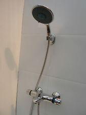 THERMOSTATIC WALL BATH SHOWER MIXER TAPS, LARGE HANDHELD, HOSE, BRACKET, 064/351